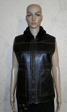 Brown Look Leather Faux Fur Collar Zip Hip Length Biker Riding Waistcoat Size M