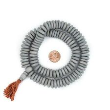 Matte Grey Disk Bone Mala Beads 14mm Nepal Large Hole 22 Inch Strand