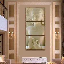 Bas Relief  3 Panel Buddha Mudra Canvas Print (Frame not included) Free Shipping