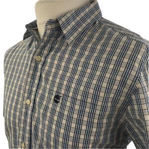 Timberland Earthkeepers Mens Shirt Medium Reg Casual Short Sleeve White Check