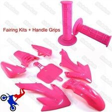 Pink Plastic Fender Kit+Handle Grips For Honda XR50 CRF50 Pit Dirt Motor Bike