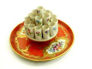 Antique Carl Thieme Dresden Porcelain Cigarette Holder & Ashtray