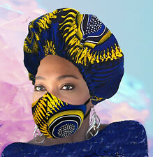 African Ankara Kente Double Layered Face Mask and Satin-Lined Bonnet Set