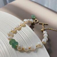 18K Gold Irregular Freshwater Pearls Bracelet Adjustable Bangle Women Jewelry