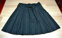 JACQUI E Womens Black Pleated Striped Work Skirt with Belt & Side Zip - Size 12