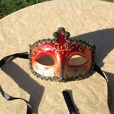 Ladies Masquerade Mask red and gold with brocade edging