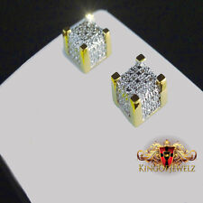GENUINE REAL 0.12 CT  DIAMOND STUD CUBE EARRINGS SCREW BACKS YELLOW GOLD FINISH