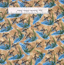 Riverwoods Fabric - Duck Loon Reed Scene Beige - Nostalgic Hunt Cotton YARD