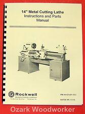 "ROCKWELL 14"" Cabinet Lathe Older Operating/Parts Manual 0595"