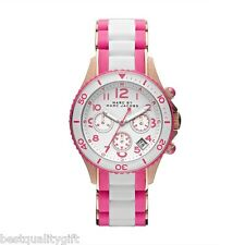 MARC JACOBS PINK+WHITE SILICONE WRAPPED ROSE GOLD S/STEEL+CHRONO WATCH-MBM2593