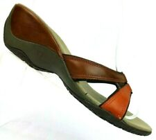 Merrell Dewberry Brown Leather Slide Wedge Strappy Sandals J46188 Women's 9
