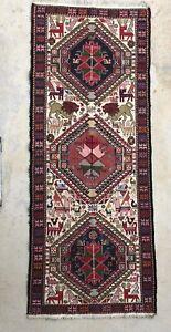 3x7 SILK VINTAGE HANDMADE AUTHENTIC ANTIQUE Tribal TURKISH RUNNER CARPET RUG