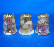 Birchcroft Thimbles -- Set of Three  -- Gold Top Piggies ( Make Offer )