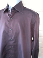 Hugo Boss Mens Button Up Shirt Burgundy Long Sleeve Sz 16.5 42 100% Cotton EUC
