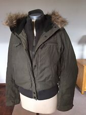 SCOTT LADIES GREEN PARKA  JACKET COAT size XS 8-10 UK  FAUX FUR TRIM