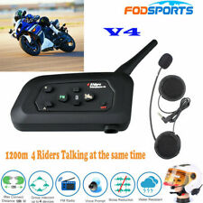 V4 1200m 4 Riders 4Way Intercom Motorcycle Bluetooth Headset Helmet  Interphone