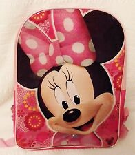 """New Disney Minnie Mouse Backpack School Book Bag Adjustable Straps 15"""" Pink"""