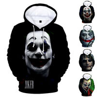 Men Women Sweatshirt Movie Jacket Hoodie Coat Pullover Tops JOKER 3D  Print