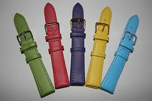 18mm Watch Straps Choice of Pastel Bright Colours Genuine Leather Band