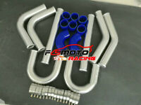 "BLUE 8PCS 2.5"" 63mm Aluminum Universal Intercooler Turbo Pipe + Hose + T-Clamps"
