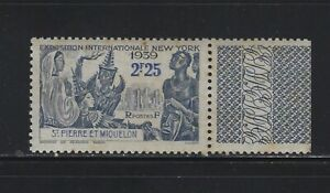 ST. PIERRE & MIQUELON - 1939 2.25F NEW YORK'S WORLD FAIR MINT STAMP WITH TAB MNH