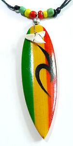Collier Surfeur Planche Surf Dent de Requin rasta reggae bob marley jamaique