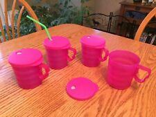 New TUPPERWARE Set of 4 Impressions Mugs w/ Drip-Less Straw Seals ~ 12-oz Pink