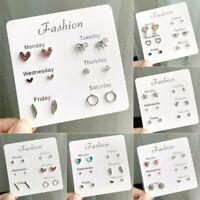6 Pairs/Set Fashion Women Crystal Pearl Heart Star Stud Earrings Card Jewelry