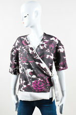 Dries Van Noten Purple Pink Cream Cotton Floral Pattern SS Wrap Top SZ 40