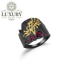 Natural Rhodoli Garnet Genuine 925 Sterling Silver Handmade Flower Women Rings