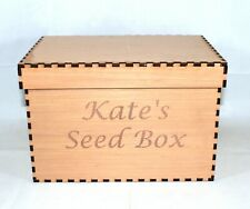 More details for seed packet storage box garden wooden gardeners personalised 30cm x 20cm x 20cm
