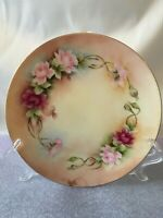 """J & C Bavaria Hand Painted Plate Pink Flowers Gold Trim - 7.5"""" signed by Patsy"""