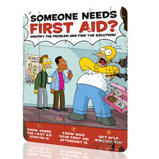"""METAL SIGN The Simpsons """"First Aid"""" Security Collection 9 Decor Wall Art Rusted"""