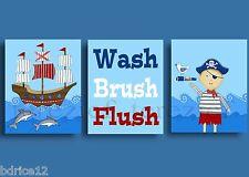PIRATE SHIP BATHROOM RULES SHOWER BRUSH WASH KIDS CHILDREN ART PRINTS WALL DECOR
