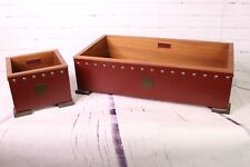 Natuzzi Leather Italia Matching 2pc Table Storage Box For Accessories Home Decor