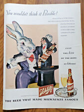 1945 Schlitz Beer Ad Magic Magician Theme 1945 Shell Oil Gas Research Ad