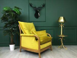 Yellow Vintage Cintique Retro Mid Century  Armchair 1960s