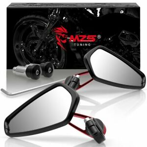 "1 Pair 7/8"" 22mm Motorcycle Rear View Black Handle Bar End Side Rearview Mirrors"