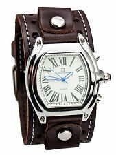 HEAVY LEATHER BIKER BROWN COLOR HOLE  STYLE BAND LARGE CASE ANALOG WATCH