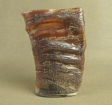 STUNNING CARVED CHINESE OLD ANTIQUE OX HORN BRUSH POT