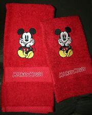 """Mickey Mouse""""NEW Color DESIGN"""" 1 Red Hand/Kitchen towel&1 Red WashCloth"""