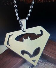 Titanium Steel Batman VS Superman Logo Pendant Chain Necklace
