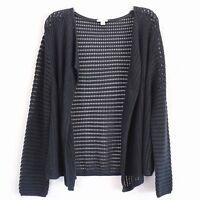 J Jill Womens Cardigan Size Large Petite Navy Blue Open Front Sweater
