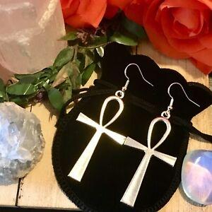 Egyptian Ankh earrings Wiccan pagan deity 925 silver spiritual Bastet gift 🖤
