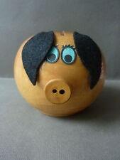 jouet ancien, tirelire, cochon en bois, Made in France, vintage des années 70