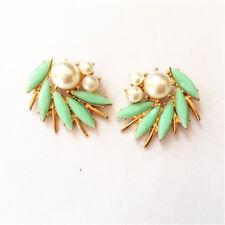 Spiral Pink Pearl Green Retro Nn5 earrings Clip On Studs Big Golden