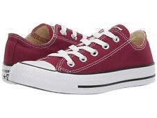 Converse Ox All Star Chucks White Burgundy (Maroon) Mens Womens Shoes All Sizes