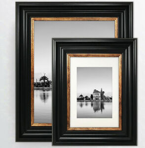 Vintage Black Photo Picture Frame Gold Style Wide Various Sizes Wall Mounted UK
