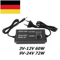 3V-24V Schaltnetzteil Trafo 60W/72W Steckernetzteil regelbar Adapter LED Anzeige