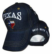 Texas Don't Mess With Texas State Map Blue Jean Denim Embroidered Cap Hat